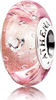 ATHENAIE Genuine Murano Glass 925 Silver Core Effervescence Clear Heart CZ Charms Bead Fit All European Bracelets Color Pi...