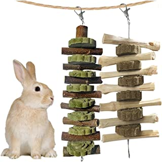 kathson Bunny Chew Toys for Teeth, Guinea Pig Wood Chews Chinchilla Apple Wood Bamboo Sticks Rabbit Organic Treats for Rod...