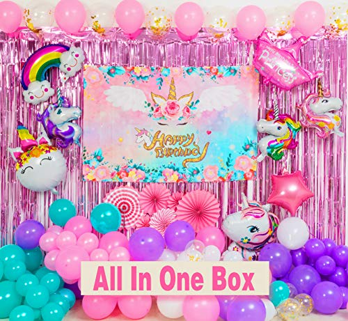 129 Pack Unicorn Birthday Party Decorations, Unicorn Theme Party Supplies Set for Girl's Birthday Party with Balloons Garland kit, Birthday Backdrop, Unicorn Foil Balloons, Curtains and Paper Fan