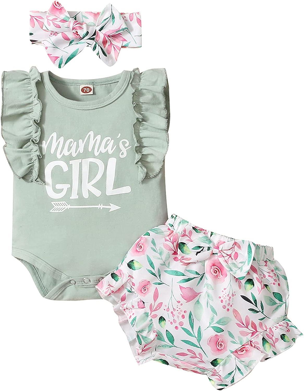 Mama's Girl Baby Girl Sleeveless Ruffle Romper Floral Shorts Headband 3PC Outfit
