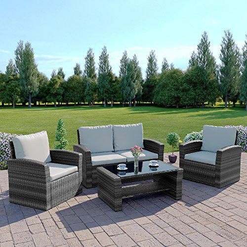 Abreo Mixed Grey Rattan Weave Sofa Set Garden Conservatory Furniture Light/Dark Cushions (Dark Mixed Grey with Light Cushions, 2 Seater Sofa)