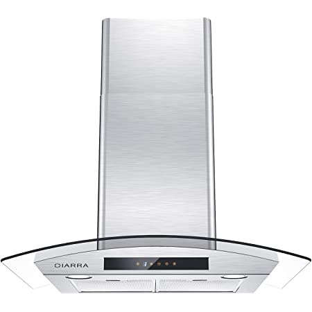 CIARRA CAS75502 Glass Vent Hood, Wall Mount Range Hood 30 inch, Stainless Steel Stove Hood for Kitchen with 3 Speed Exhaust Fan, Aluminum Mesh Filters, Touch Control, Ducted & Ductless Convertible