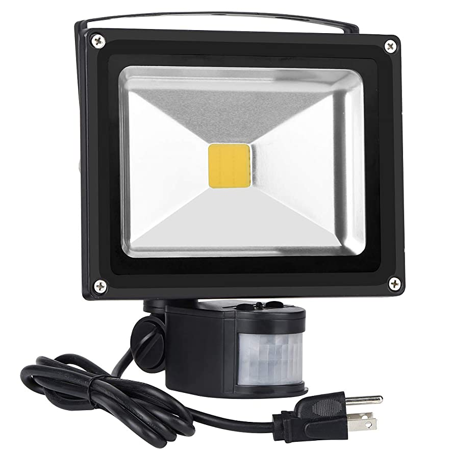 Led Motion Sensor Flood Lights Outdoor,20W 1600LM PIR Induction Lamp,IP65 Waterproof Security Lights,160W Bulb Equivalent,3200K Warm White Spotlight with US 3-Plug (Black)