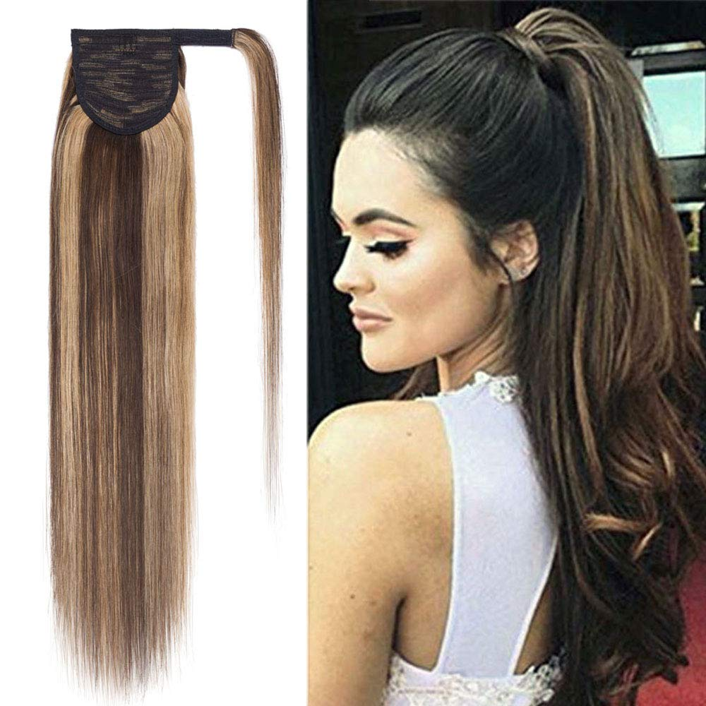 14 Inches 100% Human Super sale Hair Around Extensions Selling rankings Ponytail Wrap
