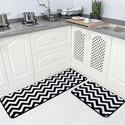"Carvapet 2 Pieces Microfiber Chevron Non-Slip Soft Kitchen Mat Bath Rug Doormat Runner Carpet Set, 17""x48""+17""x24"", Black"