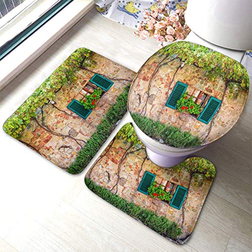 Preciosa alfombrilla de baño con ventana decorada con flores en Italia - Juego de 3 alfombrillas de baño para tapa de inodoro