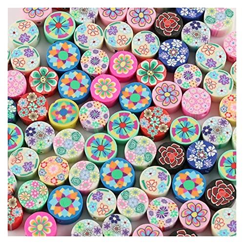 MURUI NTZ 50 unids 10 mm Polímero Arcilla Flor Patrón de impresión Perlas Redondas Perlas Sueltas Mezclar Colores para Hacer Joyería Yc0506