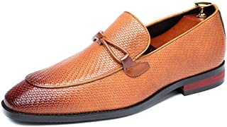 HUAHs0 Business Oxford for Men Walking Shoes Slip on PU Leather Upper Experienced Stitched Weave Anti Slip Party Breathable Lined Burnished Style` (Color : Yellow, Size : 45 EU)