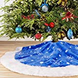 yuboo Blue Christmas Tree Skirt,36 inch Fur Tree Skirt with White Snowflakes for Xmas Party and Holiday Decorations