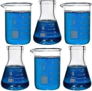 مجموعه شیشه ای آزمایشگاهی ، مجموعه ای از آبجوش های 6-50 میلی لیتری و فلاسک های 50 میلی لیتری ، شیشه بوروسیلیکات ، کارتر علمی 233V2