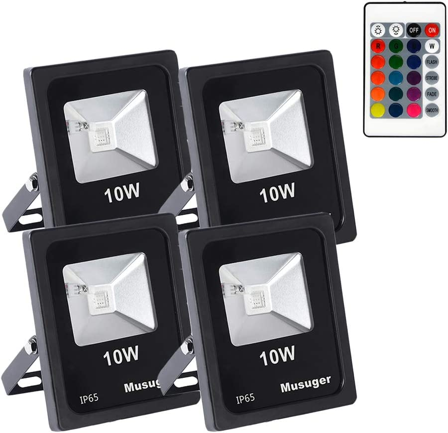 Musuger 4PCs 10W RGB LED Flood with Col Our shop OFFers the best service Remote 16 Ranking TOP5 Light Control