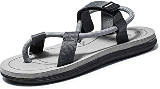 Aomoto Summer Beach Sandals for Men Water Flat Slipper Flip Flops Thong Nylon Tape Hook&Loop Strap Outdoor
