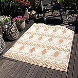 mynes Home Outdoor Teppiche In- & Outdoorteppich Flachgewebe Terrasse Garten Balkon geeigneter Teppich Skandi Shabby Terra Natur mit 3D Struktur Wetterfest Farbecht Lichtecht, Größe: 160 cm x 230 cm