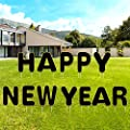 EBaokuup 12Pcs Golden Happy New Year Yard Sign, 13 Inch Big Dot of Happy New Year Yard Sign, Outdoor New Year Lawn Decorations, 2021 Happiness New Year's Eve Yard Sign