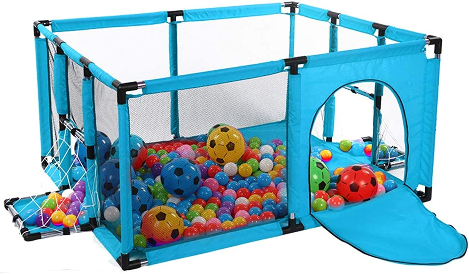 Portable Playard with Football, Play Pen for Infants and Babies, Lightweight Mesh Baby Playpen Ocean Ball Pool, 120x100x62cm (color   bluee)