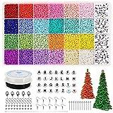 12000 cuentas de pony pequeñas para hacer joyas, cuentas de semillas pequeñas de 3 mm y 24 colores, cuentas de semillas de vidrio artesanales y 270 cuentas de letras blancas con 8 herramientas