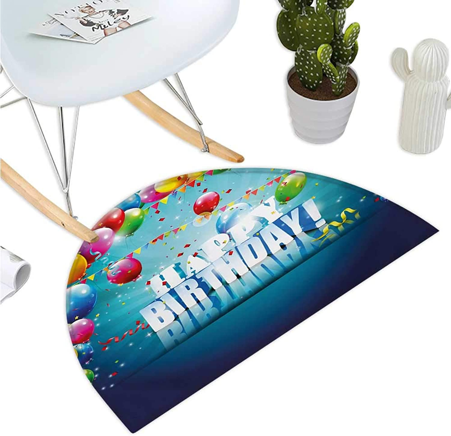 Birthday Semicircular Cushion Realistic Design in 3D Style Text Vibrant colorful Balloons Flags Surprise Party Halfmoon doormats H 39.3  xD 59  Multicolor