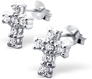 CZ Crystals Cross Studs Earrings Sterling Silver 925 (E7708)