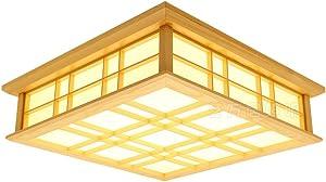 lyxg japonés LED Lámpara Leuchten Madera de Madera Maciza lámpara Tatami plafón (450mm * 450mm * 120mm)