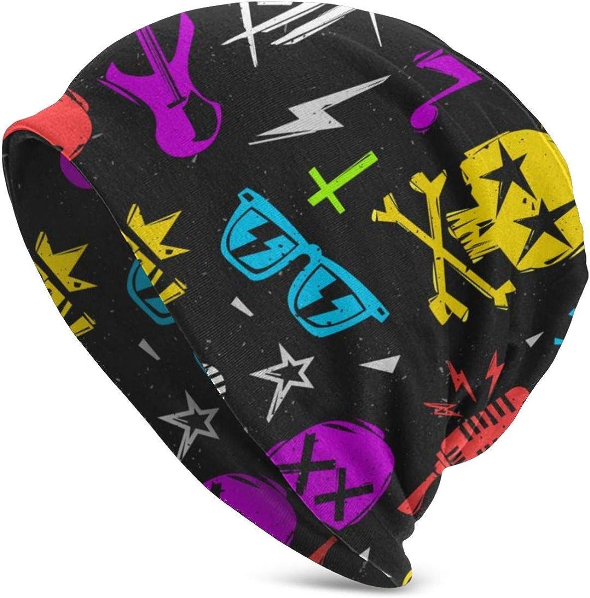 Lucaeat Rock'n'Roll Elements Pattern Beanie Hat for Men and Women Winter Warm Hats Black