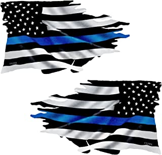 AZ House of Graphics Thin Blue Line Tattered Flag Sticker Mirrored 2 Pack #FS299LR Laminated Police USA Vinyl Decal Lives Matter Car Truck Bumper Windshield Design
