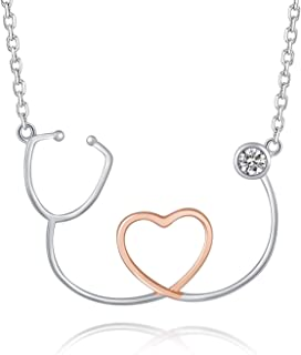 ACJNA 925 Sterling Silver Stethoscope Y Necklace Heartbeat Pendant Doctor Nurse Lariat Jewelry for Women Medical Nursing Student Gift