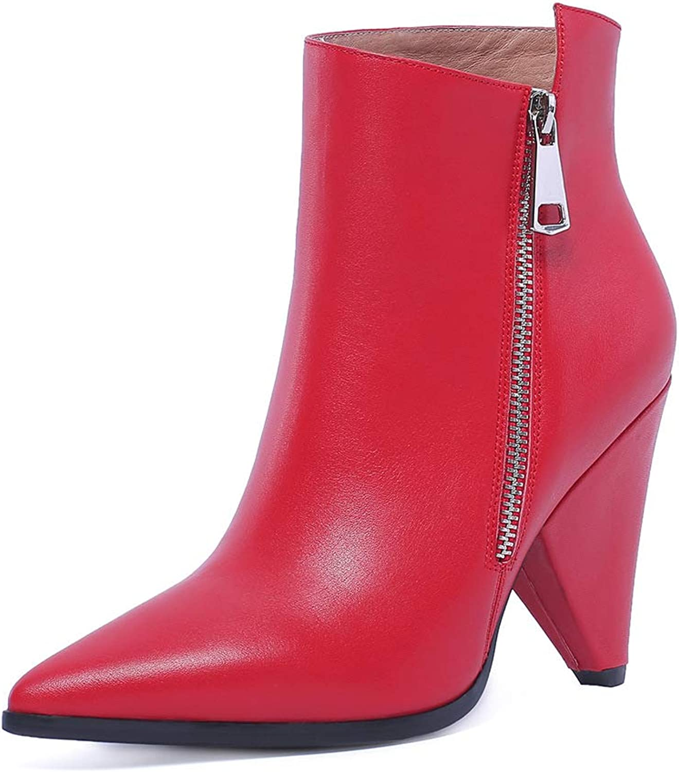ISNOM STYLE AGIT Brand Design Women Ankle Bootie Genuine Leather Spike high Heel Boots Pointy Toe Woman shoes
