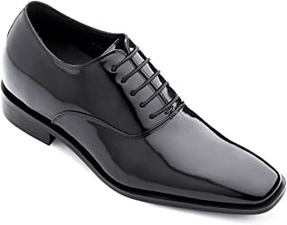 TOTO Men's Invisible Height Increasing Elevator Shoes - Black Patent Leather Lace-up Formal Oxfords - 3 Inches Taller - H6532B