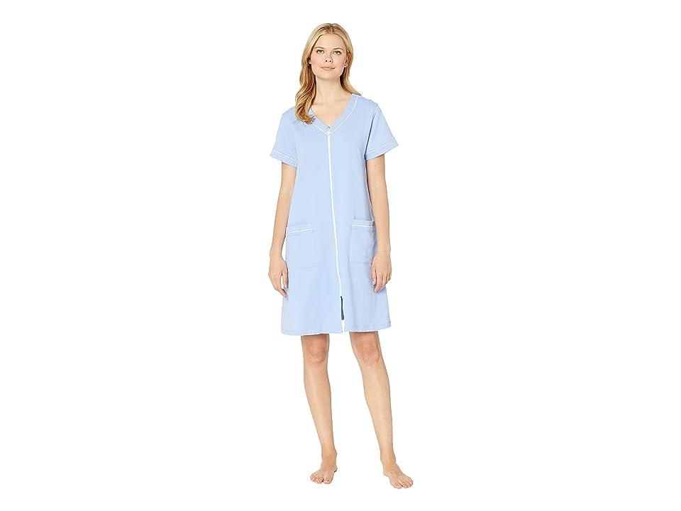 Eileen West French Terry Short Zip Robe (Solid Peri) Women