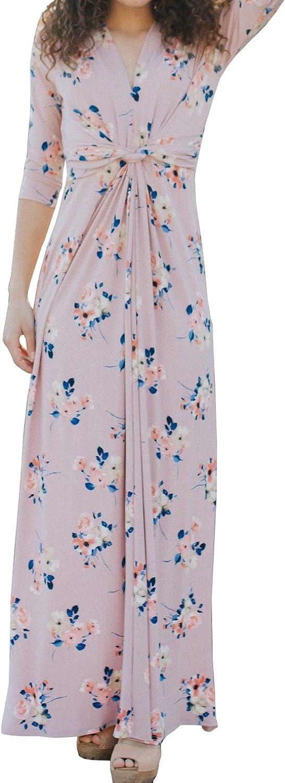 CNJFJ Womens Floral Printed Maxi Dresses 3 4 Sleeve Twist Knot V Neck Floor Length Dress