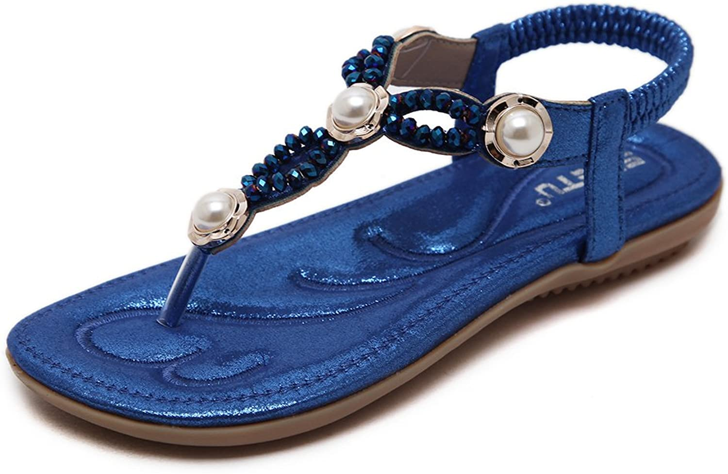 Tuoup Women's Leather Bling Beaded Sandles Summer Thong Sandals