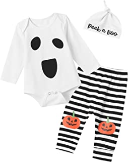 Shalofer Baby Girls Boys Halloween Ghost Costume Outfits Funny Pumpkin Pants Set