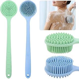 PORTOWN - Cepillo trasero de silicona con mango largo, 2 piezas, cepillo de baño para el cuerpo, cepillo de ducha de baño ...