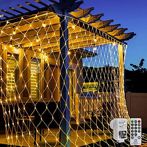 LED Lichternetz 3x2 m 200 LED Lichterkette Netz Warmweiß Lichtervorhang mit Fernbedienung und Adapteranschluss 8 Modi Lichtketten für...
