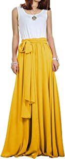 Women Chiffon Maxi Skirt Long Elastic Pleated Formal Wedding with Bow Customizable