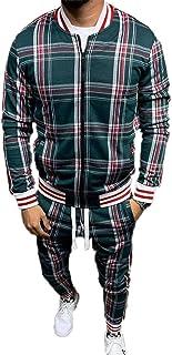 U/N Dresy do koszykówki w kratę dla mężczyzn, zapinane na zamek, prążkowane mankiety i dół bluzy, odzież wierzchnia