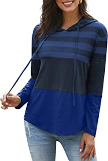 Eternatastic Women's Long Sleeve Hoodie Sweatshirt Triple Colorblock Pullover Shirt Blouse Red