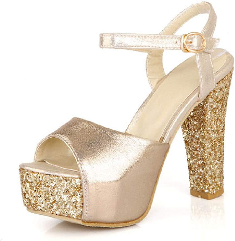 Btrada Women Fashion Super High Heel Sandals Female Summer Platform Sequins Thick Heel Casual Sandals