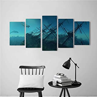 Large Size 5 Panels Modern Giclee Canvas Joint Painting Kit Painting Crafts Wall Art Decor,Nautical Dolphins Approaching to the uined Wreckage of Underwater Sunken Ship Mystery Treasure Theme Blue.