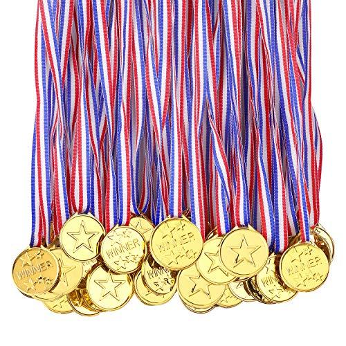 Medaillen für Kinder, Auszeichnungen für Gewinner, Kunststoff, für Schule, Sportfest oder Mini-Olympiade, 100 Stück