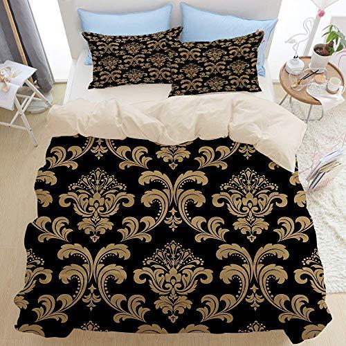 Set di biancheria da letto 3 pezzi di qualità premium, damasco barocco con fiori floreali, set...