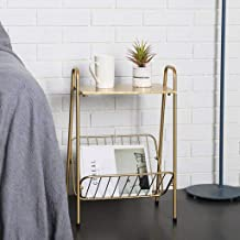 Chair End Table Iron Coffee Table Gold Sofa Side Table with Storage Shelf for Living Room Bedroom Furniture, 39.5 * 26.5 *...