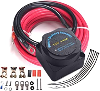 Dual Battery Isolator Kit - HORSMILE 12V 140Amp Voltage Sensitive Relay & Wiring Cable Kit, Complete VSR Double Battery Automatic Charger, Fits Trucks, SUV, ATV, ATV, UTV, Boats & More, Upgraded