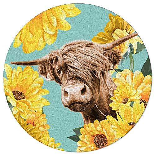 Alfombras redondas Retrato de Alpine Yak Funny Animal Suave Interior/Sala de Estar/Dormitorio/Niños Sala de Juego/Cocina Alfombras Amarillas Daisy Antideslizante Caucho Alfombras Yoga 3 ft Diámetro
