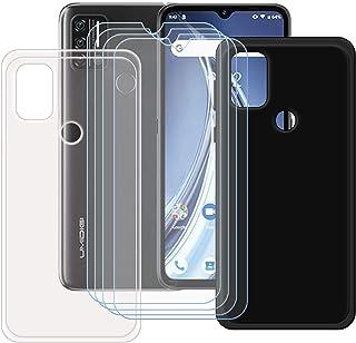 FZZ Case for Umidigi A9 + 4 Pack Tempered Glass Screen Protector Protective Film,Slim Transparent + Black Soft Gel TPU Sil...