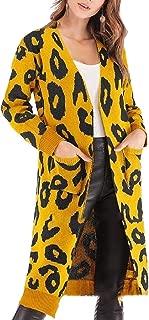 Women's Casual Long Sleeve Open Front Leopard Print Knit Cardigan Sweater Coat