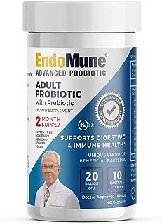 EndoMune Advanced Adult Multi-Strain Probiotic Supplement with Prebiotic | 10 Strains, 20 Billion CFU | Physician Formulated | 60 Vegetarian Capsules