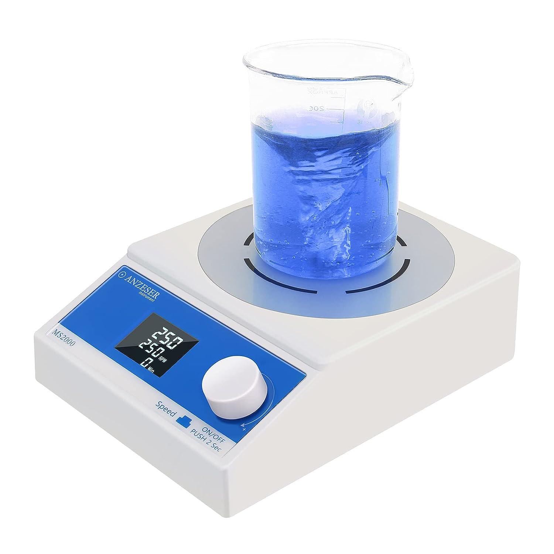 ANZESER Agitador Magnético con Pantalla LCD, Función de Sincronización, Control de Precisión a Baja Velocidad, Velocidad de 250-2000 rpm, Volumen máximo 3500 ml, con Barra de Agitación