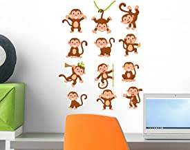 Wallmonkeys Happy Monkey Cartoon Collection Wall Decal Sticker Set Individual Peel and Stick Graphics on a (18 in H x 14 in W) Sticker Sheet WM387691