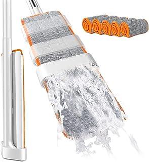 Łatwy samozaciskowy płaski mop z 4 podkładkami do mopa bez użycia rąk, mop podłogowy z mikrofibry do laminatu, płytek, pod...